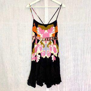 Free People Black Flower Mini Dress